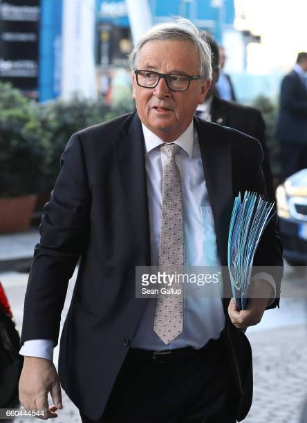 JeanClaude Juncker President of the European Commission arrives for the European People's Party Congress on March 30 2017 in San Giljan Malta The EPP...