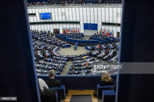 JeanClaude Juncker president of the European Commission delivers the State of the Union speech at the European Parliament in Strasbourg France on...