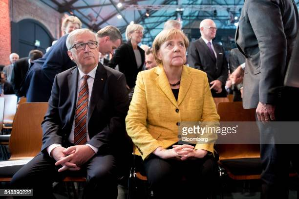 JeanClaude Juncker president of the European Commission left and Angela Merkel Germany's chancellor and Christian Democratic Union leader look on...