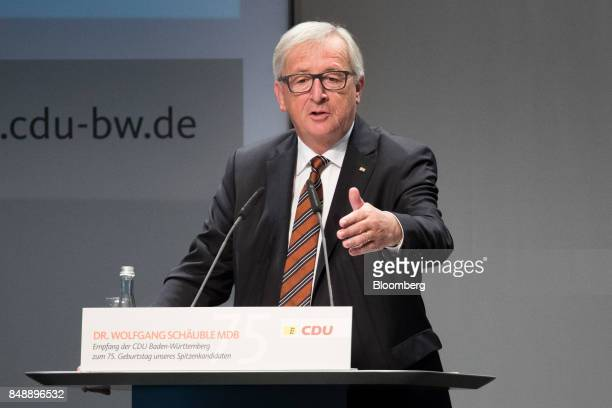 JeanClaude Juncker president of the European Commission speaks during a reception of the CDU BadenWurttemberg to celebrate Germany's finance minister...