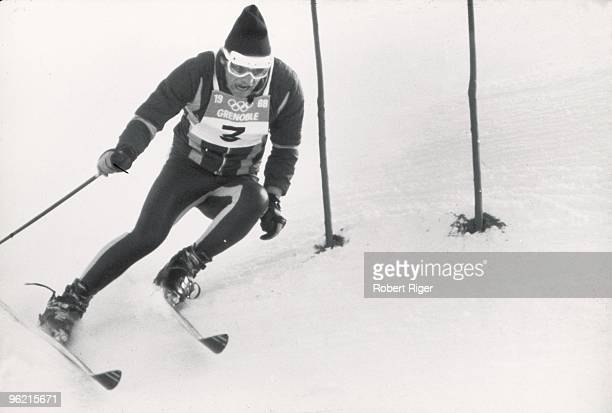 JeanClaude Killy competes in the Men's Giant Slalom during the 1968 Winter Olympics on February 11 1968 in Grenoble France