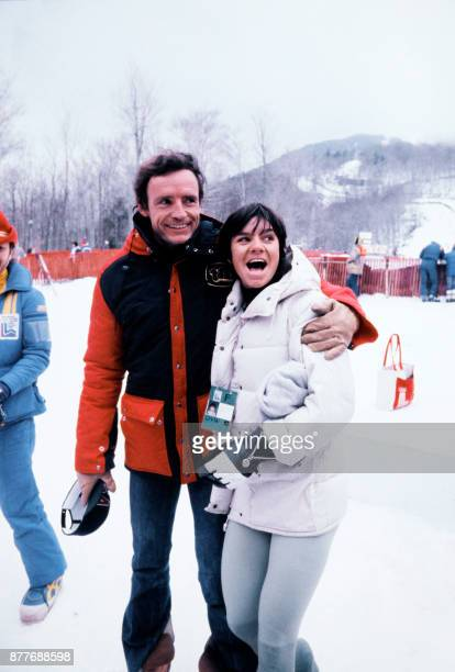 JeanClaude Killy from France congratulates Perrine Pelen from France after the second leg of women's giant slalom of the Lake Placid 1980 Winter...