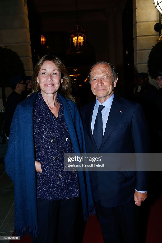 Jean-Claude Meyer and his wife Nathalie Bloch-Laine attend the 'Colonne Vendome' Is Unveiled After Restoration Works on June 27, 2016 in Paris, France.