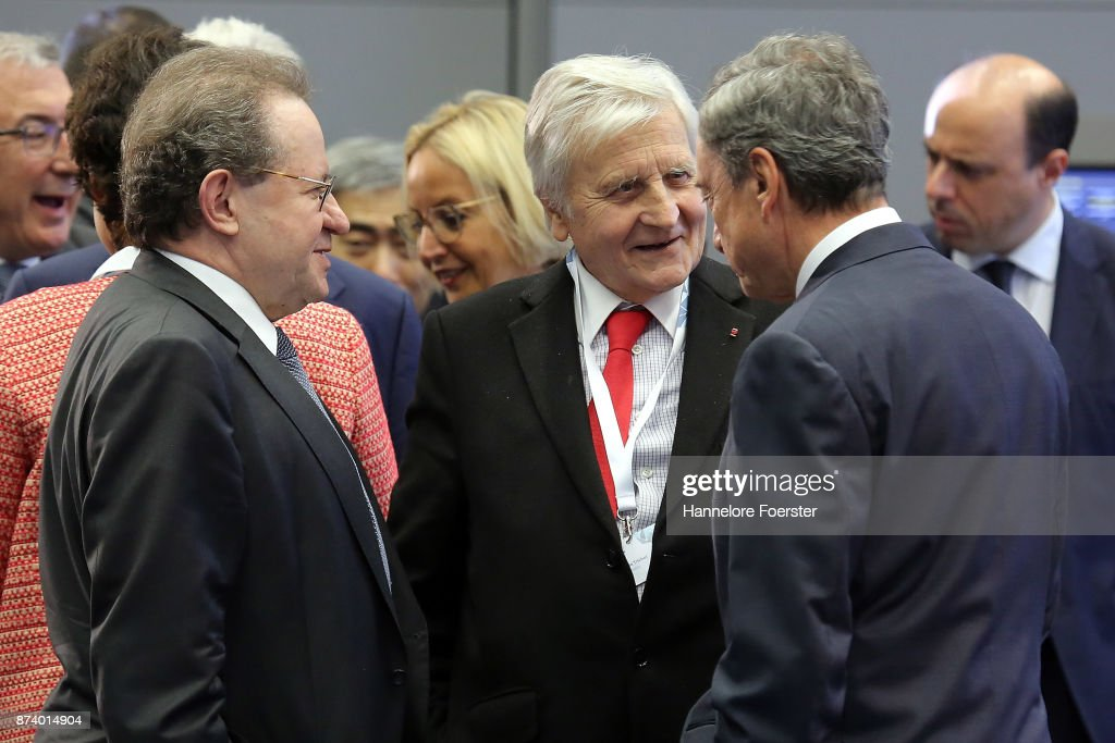 Jean-Claude Trichet, former president ECB, speaks with Mario Draghi, President of the European Central Bank (ECB), and Vtor Constncio, during a panel to discuss central bank communication on November 14, 2017 in Frankfurt, Germany. The event, which is taking place at European Central Bank headquarters, is part of a two-day conference on central bank communication.