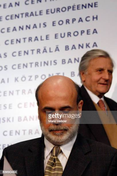 JeanClaude Trichet President of the European Central Bank and Ben Bernanke Chairman of the Board of Governors of the US Federal Reserve System arrive...