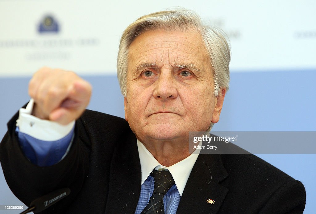 <a gi-track='captionPersonalityLinkClicked' href=/galleries/search?phrase=Jean-Claude+Trichet&family=editorial&specificpeople=208778 ng-click='$event.stopPropagation()'>Jean-Claude Trichet</a>, president of the European Central Bank, prepares to answer a journalist's question at a press conference following a meeting of the ECB Governing Council on October 6, 2011 in Berlin, Germany. Trichet and other world financial leaders, including Christine Lagarde, Director of the International Monetary Fund, and Robert Zoellick, President of the World Bank, are scheduled to meet later in the day in Berlin to discuss measures to counter the growing European debt crisis.