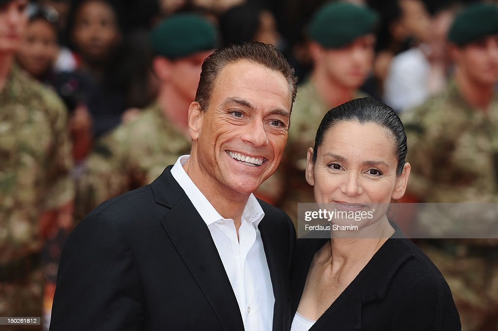 <a gi-track='captionPersonalityLinkClicked' href=/galleries/search?phrase=Jean-Claude+Van+Damme&family=editorial&specificpeople=566465 ng-click='$event.stopPropagation()'>Jean-Claude Van Damme</a> and <a gi-track='captionPersonalityLinkClicked' href=/galleries/search?phrase=Gladys+Portugues&family=editorial&specificpeople=3205735 ng-click='$event.stopPropagation()'>Gladys Portugues</a> attend the UK film premiere of The Expendables 2 on August 13, 2012 in London, United Kingdom.