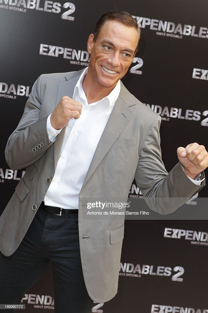 <a gi-track='captionPersonalityLinkClicked' href=/galleries/search?phrase=Jean-Claude+Van+Damme&family=editorial&specificpeople=566465 ng-click='$event.stopPropagation()'>Jean-Claude Van Damme</a> attends 'The Expendables 2' Photocall at Hotel George V on August 10, 2012 in Paris, France.