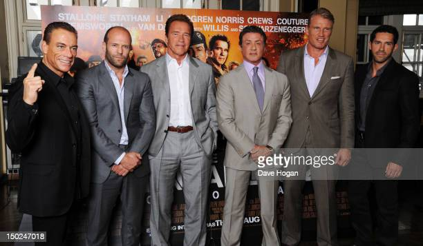 JeanClaude Van Damme Jason Statham Arnold Schwarzenegger Sylvester Stallone Dolph Lundgren and Scott Adkins attend a photocall for The Expendables 2...