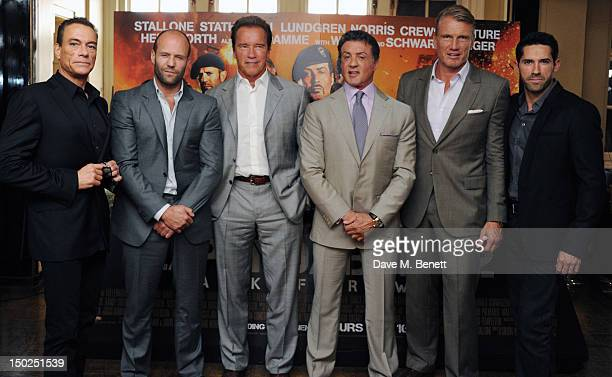 JeanClaude Van Damme Jason Statham Arnold Schwarzenegger Sylvester Stallone Dolph Lundgren and Scott Adkins attend the Expendables 2 photocall at...