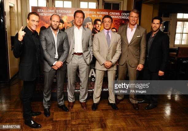 JeanClaude Van Damme Jason Statham Arnold Schwarzenegger Sylvester Stallone Dolph Lundgren and Scott Adkins at a photocall for new film The...