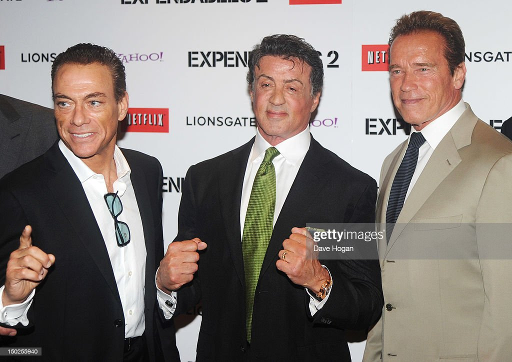 L-R <a gi-track='captionPersonalityLinkClicked' href=/galleries/search?phrase=Jean-Claude+Van+Damme&family=editorial&specificpeople=566465 ng-click='$event.stopPropagation()'>Jean-Claude Van Damme</a>, <a gi-track='captionPersonalityLinkClicked' href=/galleries/search?phrase=Sylvester+Stallone&family=editorial&specificpeople=202604 ng-click='$event.stopPropagation()'>Sylvester Stallone</a> and <a gi-track='captionPersonalityLinkClicked' href=/galleries/search?phrase=Arnold+Schwarzenegger&family=editorial&specificpeople=156406 ng-click='$event.stopPropagation()'>Arnold Schwarzenegger</a> attend the UK premiere for The Expendables 2 at Simpsons On The Empire Leicester Square on August 13, 2012 in London, England.