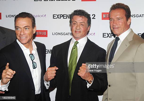 JeanClaude Van Damme Sylvester Stallone and Arnold Schwarzenegger attend the UK premiere for The Expendables 2 at Simpsons On The Empire Leicester...