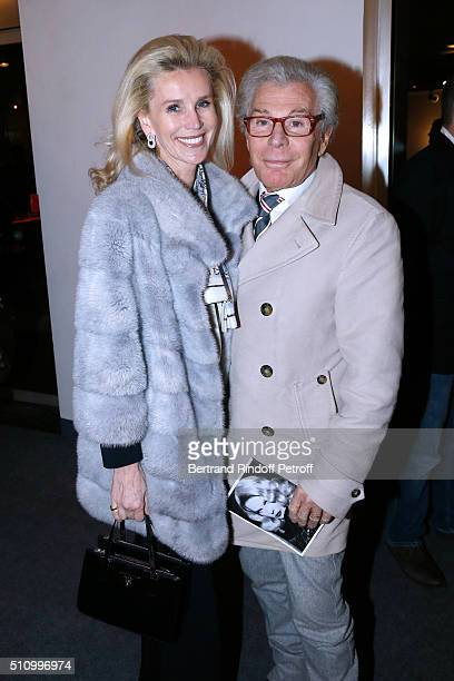 JeanDaniel Lorieux and his companion Laura Restelli attend 'Le Retour De Marlene Dietrich' Theater Play at Espace Pierre Cardin on February 17 2016...