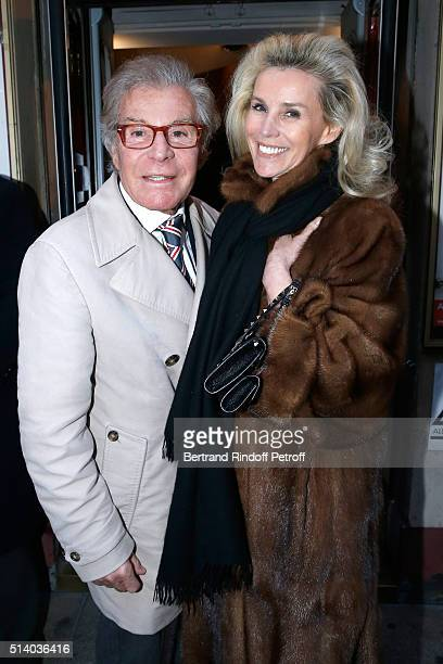 JeanDaniel Lorieux and his companion Laura Restelli Brizard attend the 'Garde Alternee' Theater Play at Theatre des Mathurins on March 6 2016 in...