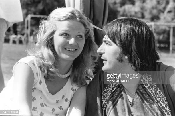 Jeane Manson et Serge Lama lors des olympiades de la chanson française au Kappa club d'Hydra une jolie petite ile de Grece le 10 mai 1978 en Grece