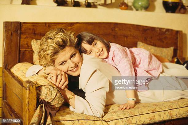 Jeane Manson with her daughter at their Parisian home