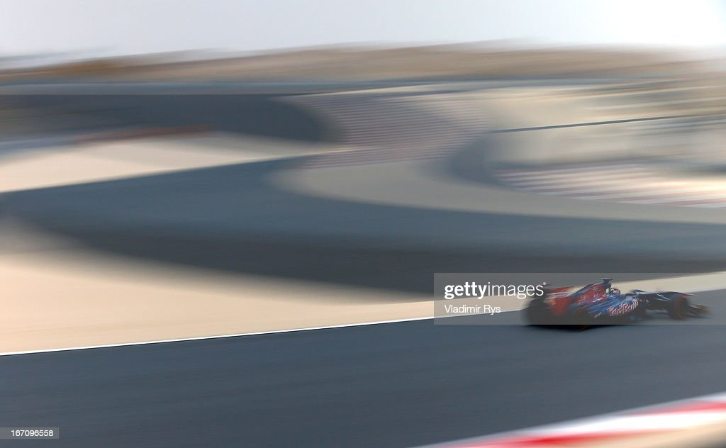Jean-Eric Vergne of France and Scuderia Toro Rosso drives during final practice session prior qualifying for the Bahrain Formula One Grand Prix at the Bahrain International Circuit on April 20, 2013 in Sakhir, Bahrain.