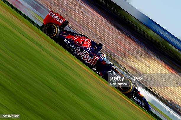 JeanEric Vergne of France and Scuderia Toro Rosso drives during final practice ahead of the German Grand Prix at Hockenheimring on July 19 2014 in...