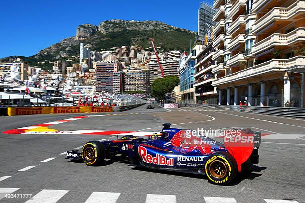JeanEric Vergne of France and Scuderia Toro Rosso drives during final practice ahead of the Monaco Formula One Grand Prix at Circuit de Monaco on May...