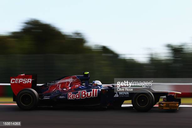 JeanEric Vergne of France and Scuderia Toro Rosso drives during qualifying for the Japanese Formula One Grand Prix at the Suzuka Circuit on October 6...