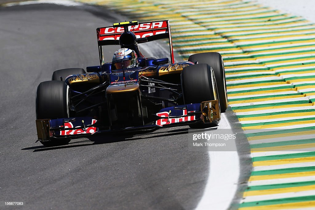 Jean-Eric Vergne of France and Scuderia Toro Rosso drives during practice for the Brazilian Formula One Grand Prix at the Autodromo Jose Carlos Pace on November 23, 2012 in Sao Paulo, Brazil.