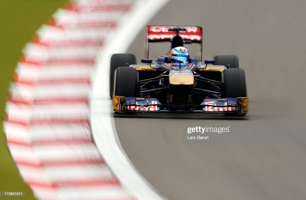 Jean-Eric Vergne of France and Scuderia Toro Rosso drives during practice for the German Grand Prix at the Nuerburgring on July 5, 2013 in Nuerburg, Germany.