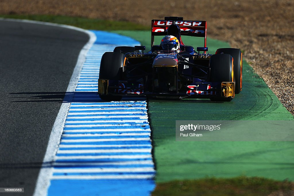 Jean-Eric Vergne of France and Scuderia Toro Rosso drives during Formula One winter testing at Circuito de Jerez on February 7, 2013 in Jerez de la Frontera, Spain.