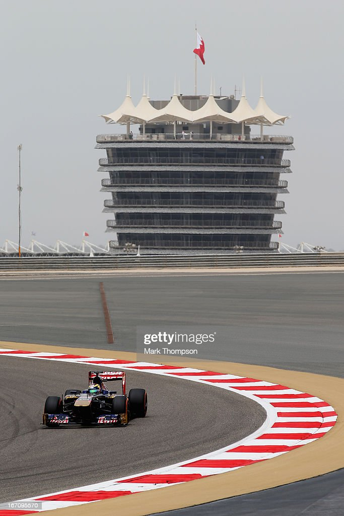 Jean-Eric Vergne of France and Scuderia Toro Rosso drives during the final practice session prior to qualifying for the Bahrain Formula One Grand Prix at the Bahrain International Circuit on April 20, 2013 in Sakhir, Bahrain.