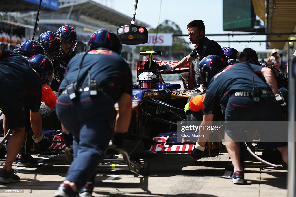 Jean-Eric Vergne of France and Scuderia Toro Rosso drives in for a pitstop during practice for the Brazilian Formula One Grand Prix at the Autodromo Jose Carlos Pace on November 23, 2012 in Sao Paulo, Brazil.