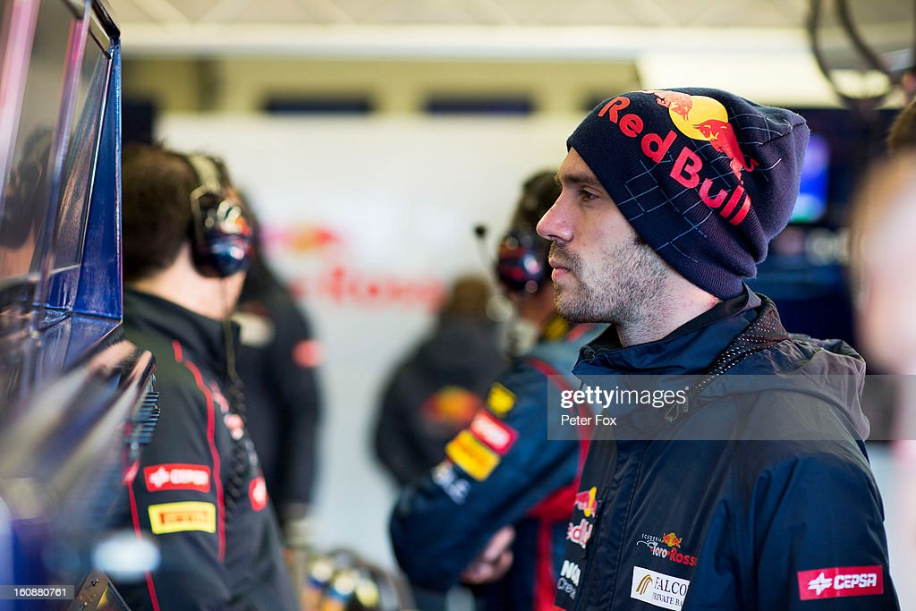 Jean-Eric Vergne of France and Scuderia Toro Rosso is seen in the team garage during Formula One winter testing at Circuito de Jerez on February 7, 2013 in Jerez de la Frontera, Spain.