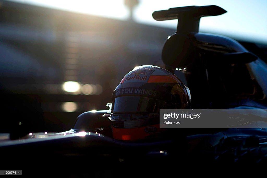 Jean-Eric Vergne of France and Scuderia Toro Rosso leaves the team garage during Formula One winter testing at Circuito de Jerez on February 7, 2013 in Jerez de la Frontera, Spain.