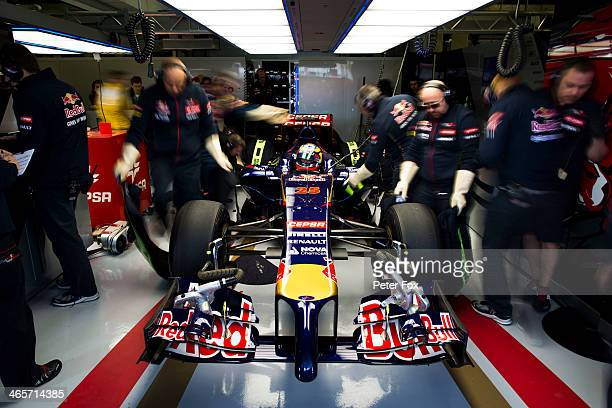 JeanEric Vergne of France and Scuderia Toro Rosso prepares to drive the new STR9 during day one of Formula One Winter Testing at the Circuito de...