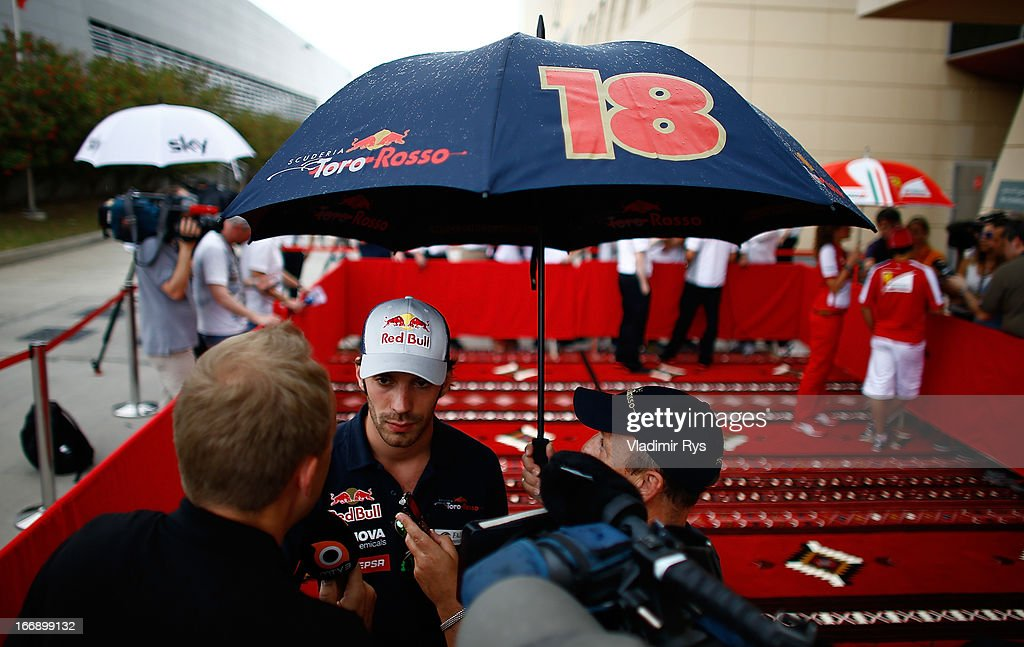 <a gi-track='captionPersonalityLinkClicked' href=/galleries/search?phrase=Jean-Eric+Vergne&family=editorial&specificpeople=7077576 ng-click='$event.stopPropagation()'>Jean-Eric Vergne</a> of France and Scuderia Toro Rosso speaks to media during previews for the Bahrain Formula One Grand Prix at the Bahrain International Circuit on April 18, 2013 in Sakhir, Bahrain.