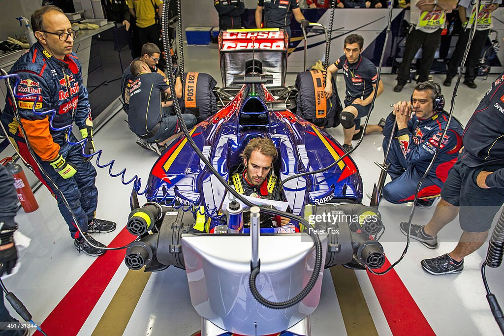<a gi-track='captionPersonalityLinkClicked' href=/galleries/search?phrase=Jean-Eric+Vergne&family=editorial&specificpeople=7077576 ng-click='$event.stopPropagation()'>Jean-Eric Vergne</a> of Toro Rosso and France ahead of the British F1 Grand Prix at Silverstone Circuit on July 5, 2014 in Northampton, England.