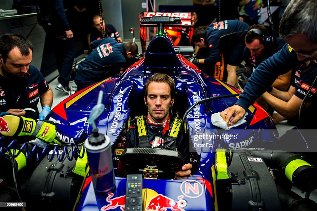 <a gi-track='captionPersonalityLinkClicked' href=/galleries/search?phrase=Jean-Eric+Vergne&family=editorial&specificpeople=7077576 ng-click='$event.stopPropagation()'>Jean-Eric Vergne</a> of Toro Rosso and France during practice ahead of the Russian Formula One Grand Prix at Sochi Autodrom on October 10, 2014 in Sochi, Russia.