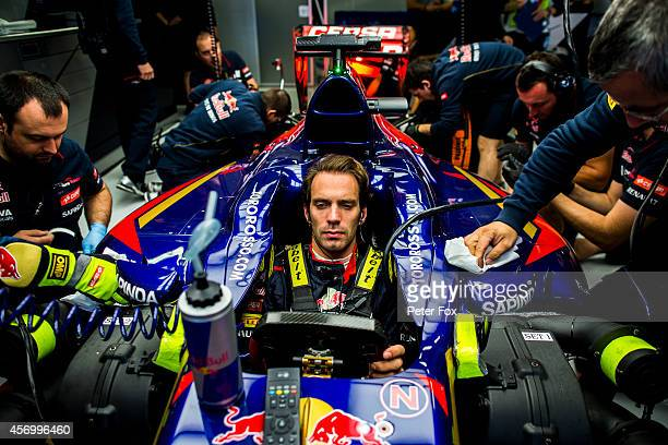 JeanEric Vergne of Toro Rosso and France during practice ahead of the Russian Formula One Grand Prix at Sochi Autodrom on October 10 2014 in Sochi...