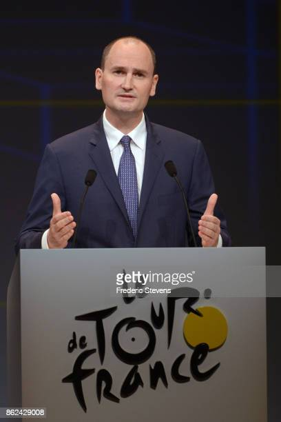 JeanEtienne Amaury has been the President of Amaury Sport Organisation during Le Tour de France 2018 Route Announcement at the Palais des Congres on...