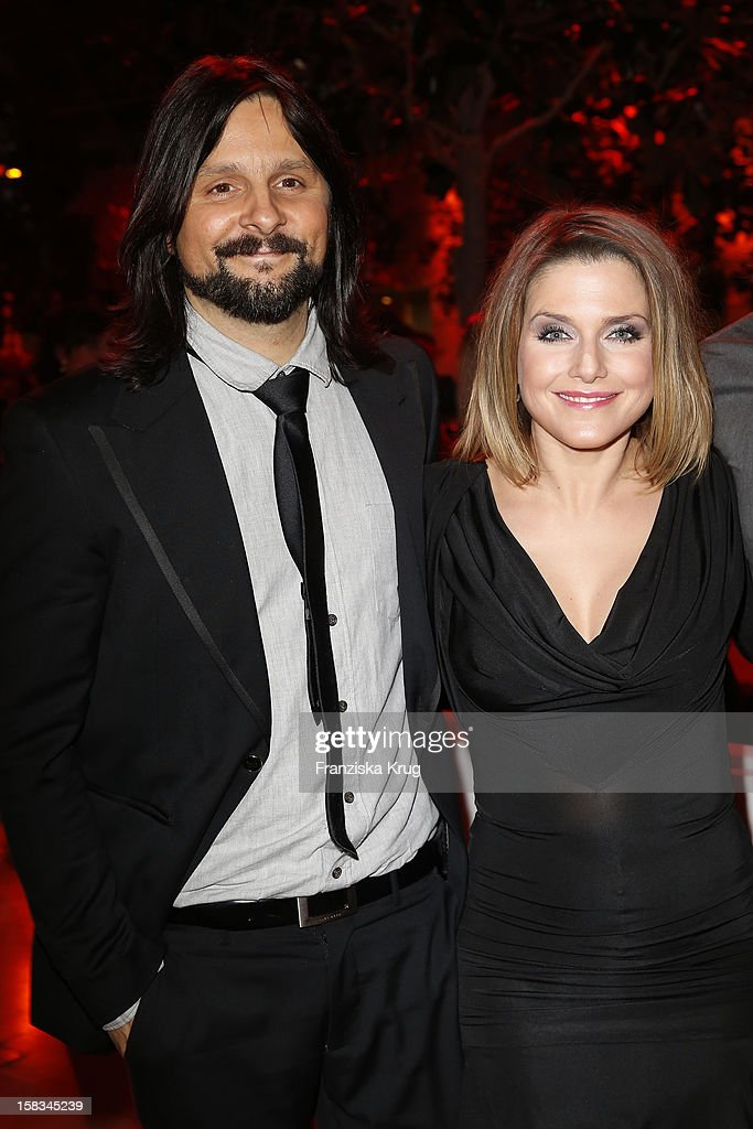 Jeanette Biedermann and her husband Joerg Weisselberg attend the 18th Annual Jose Carreras Gala on December 13, 2012 in Leipzig, Germany.