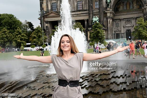 Jeanette Biedermann attends the 'Jedermann' Photocall near the Berlin Cathedral Church on August 7 2013 in Berlin Germany
