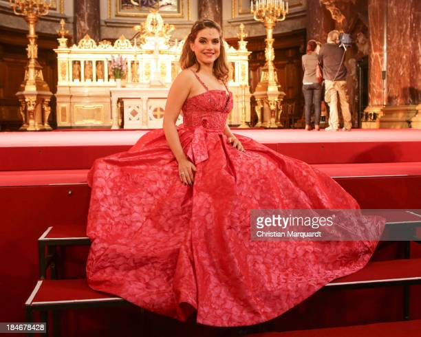 Jeanette Biedermann performs on stage during rehearsals for 'Berliner Jedermann' at Berliner Dom on October 15 2013 in Berlin Germany The debut...
