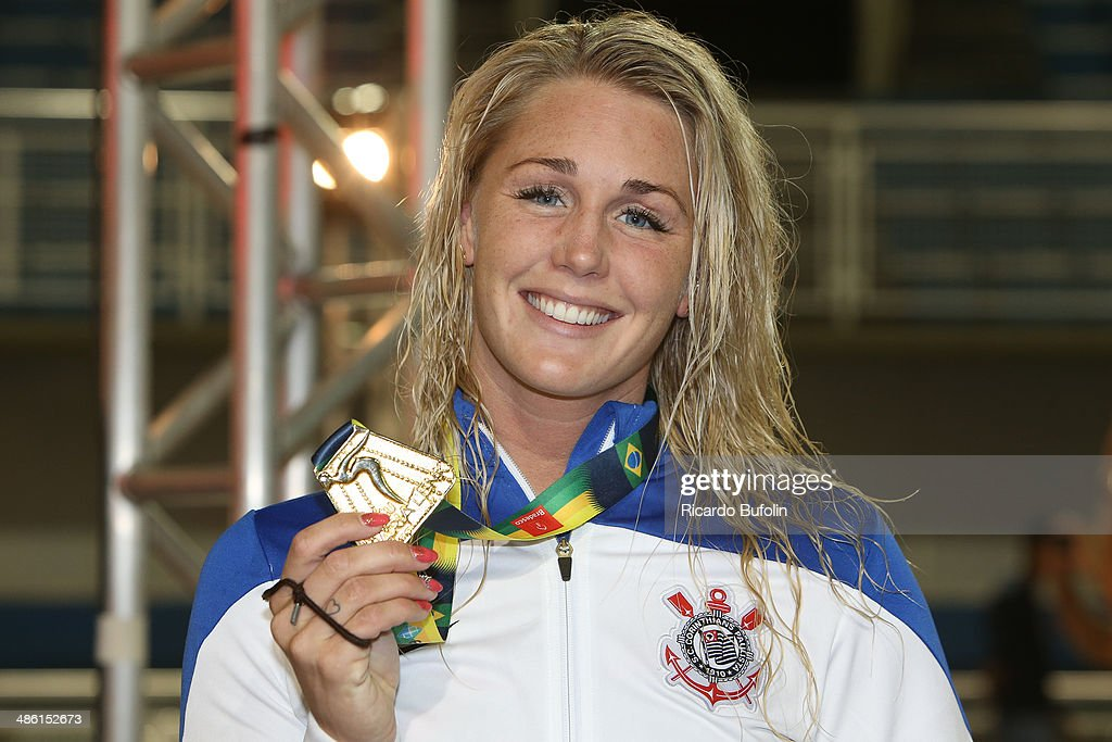 Jeanette Gray with her gold medal after the victory in the 100m Butterfly final on day two of the Maria Lenk Swimming Trophy 2014 at Ibirapuera Sports Complex on April 22, 2014 in Sao Paulo, Brazil.
