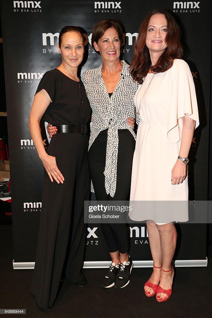 Jeanette Hain designer Eva Lutz and Natalia Woerner attend the Minx by Eva Lutz show during the MercedesBenz Fashion Week Berlin Spring/Summer 2017...