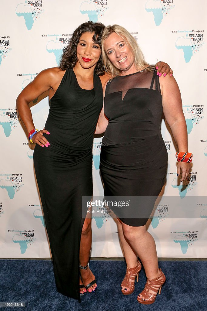 MC Jeanette Jenkins and The Samburu Project's founder Kristen Kosinski arrive at the Samburu Splash Bash Event on September 27 2014 in Santa Monica...