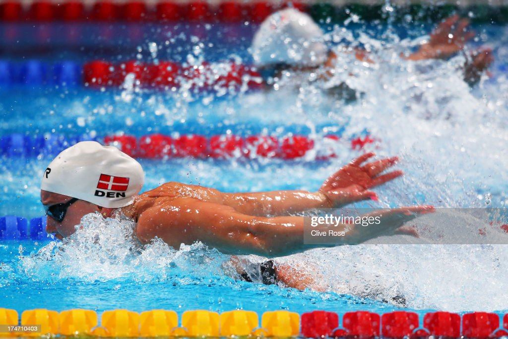 <a gi-track='captionPersonalityLinkClicked' href=/galleries/search?phrase=Jeanette+Ottesen+Gray&family=editorial&specificpeople=9160297 ng-click='$event.stopPropagation()'>Jeanette Ottesen Gray</a> of Denmark competes during the Swimming Women's 100m Butterfly Semifinal 2 on day nine of the 15th FINA World Championships at Palau Sant Jordi on July 28, 2013 in Barcelona, Spain.