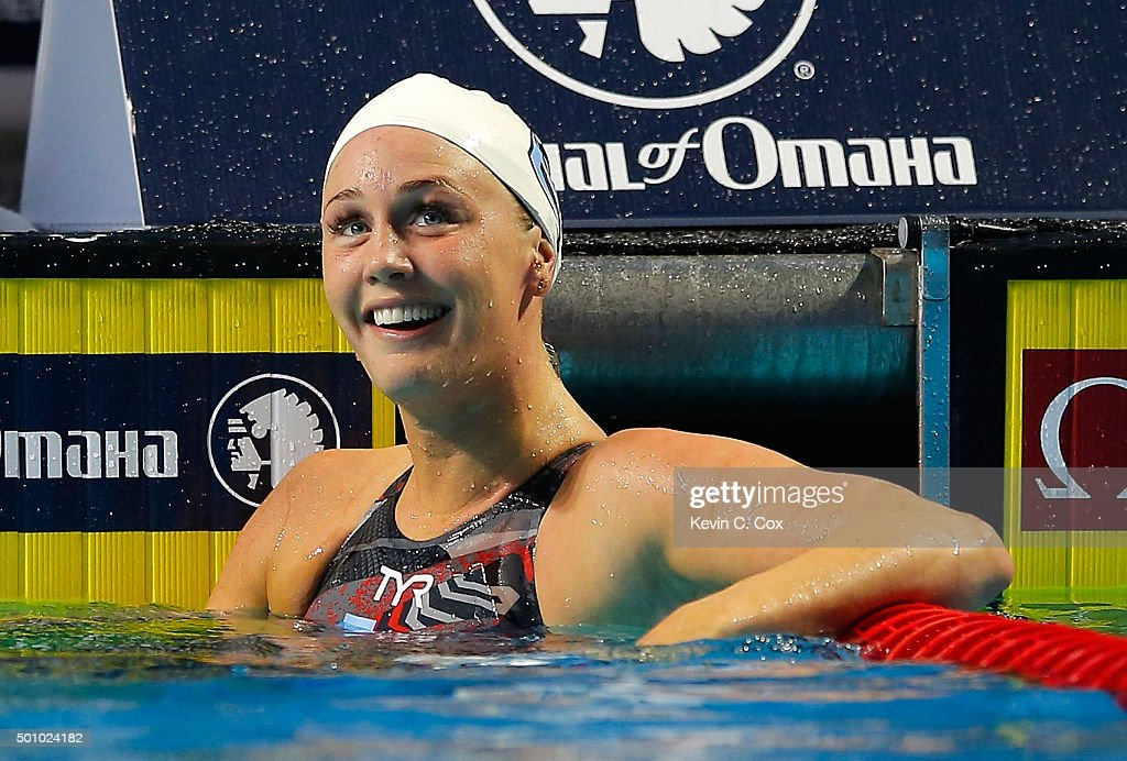 Jeanette Ottesen of Denmark celebrates winning the Women's 100m Butterfly during day one of the Mutual of Omaha Duel in the Pool at Indiana University Natatorium on December 11, 2015 in Indianapolis, Indiana.