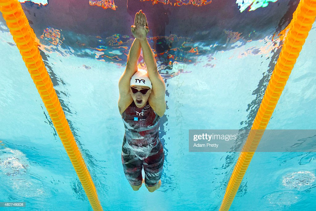 Jeanette Ottesen of Denmark competes in the Women's 100m Butterfly Heats on day nine of the 16th FINA World Championships at the Kazan Arena on August 2, 2015 in Kazan, Russia.