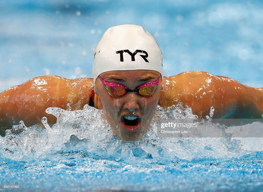 Jeanette Ottesen of Denmark in action in the Women's 100m Butterfly Semi Final during the 33rd LEN European Swimming Championships 2016 at Aquatics Centre on May 19, 2016 in London, England.