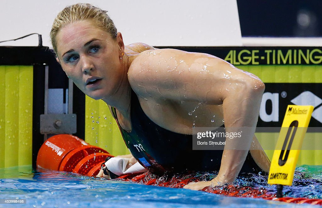 Jeanette Ottesen of Denmark looks on after the women's 50m freestyle heatsduring day 11 of the 32nd LEN European Swimming Championships 2014 at Europa-Sportpark on August 23, 2014 in Berlin, Germany.