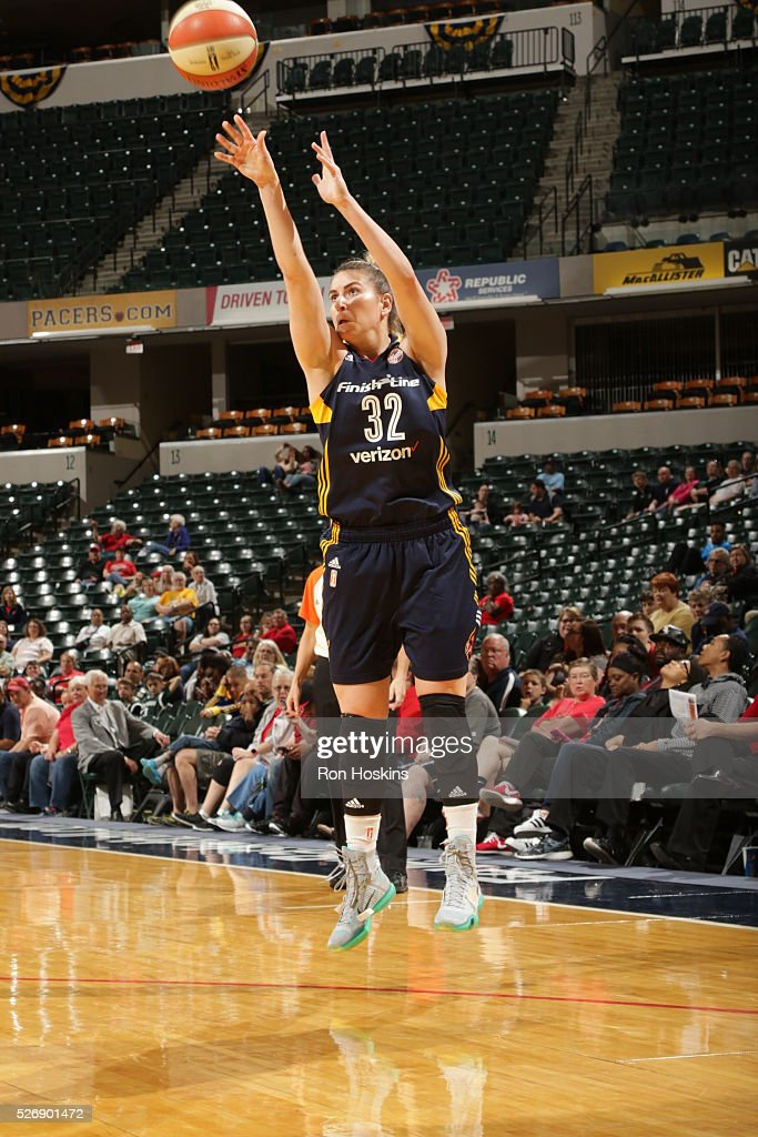 <a gi-track='captionPersonalityLinkClicked' href=/galleries/search?phrase=Jeanette+Pohlen&family=editorial&specificpeople=4225971 ng-click='$event.stopPropagation()'>Jeanette Pohlen</a> #32 of Indiana Fever shoots the ball against the Dallas Wings during a preseason game on May 1, 2016 at Bankers Life Fieldhouse in Indianapolis, Indiana.